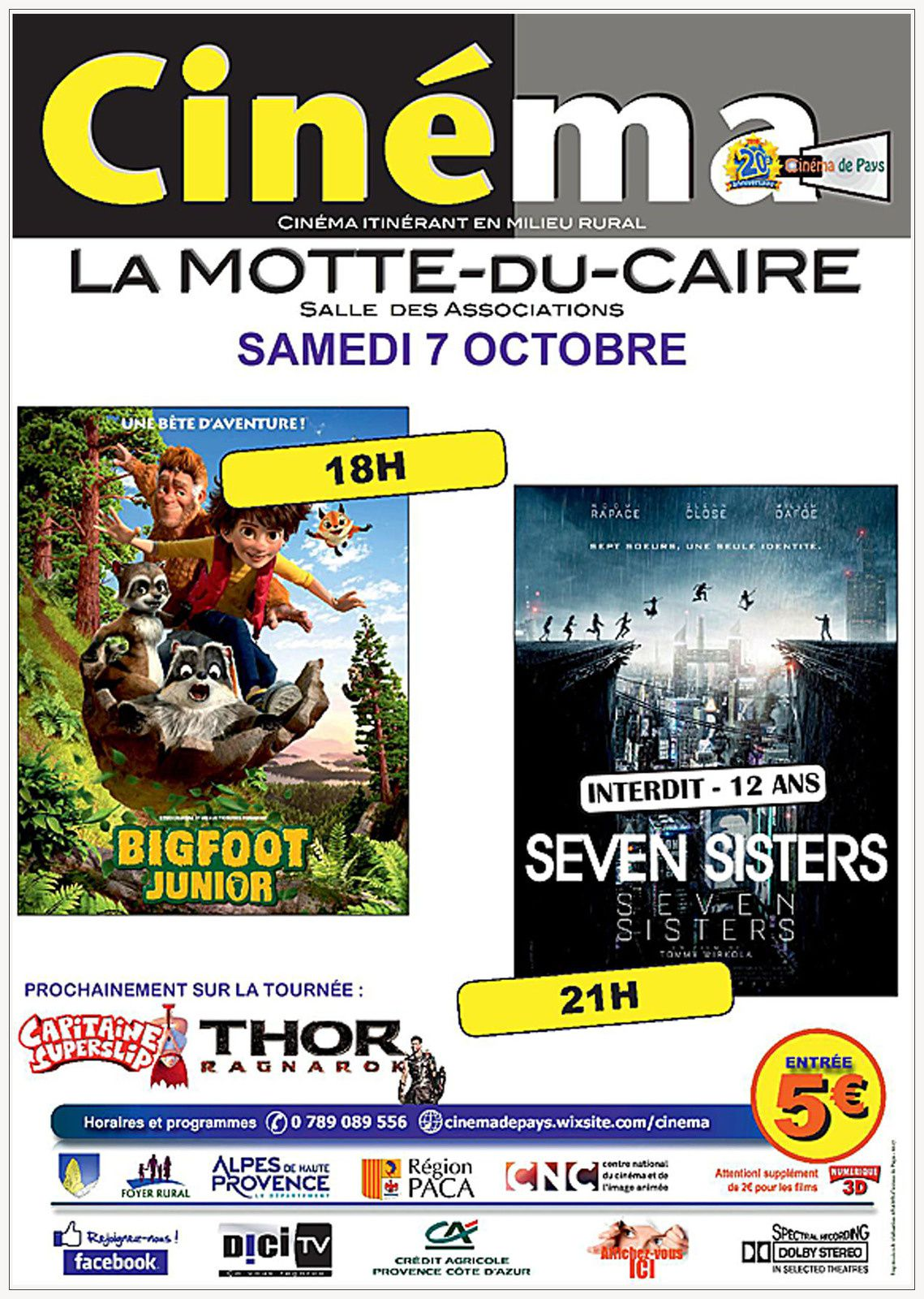 Affiches cinéma de Pays  et cinéma de Vinon sur Verdon et l'agenda des programmations