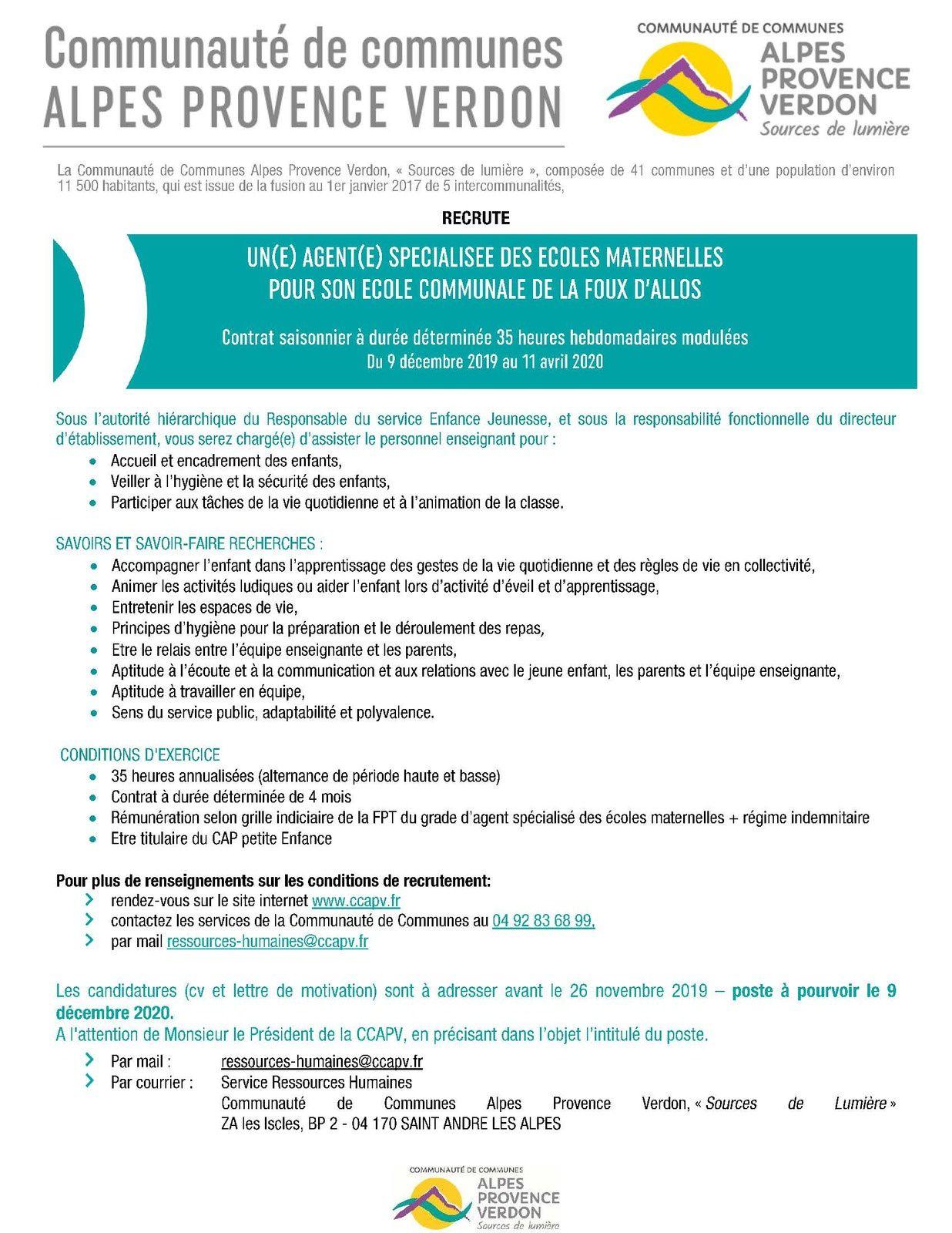 Offre Emploi Atsem Sur L école De La Foux D Allos Pour Un