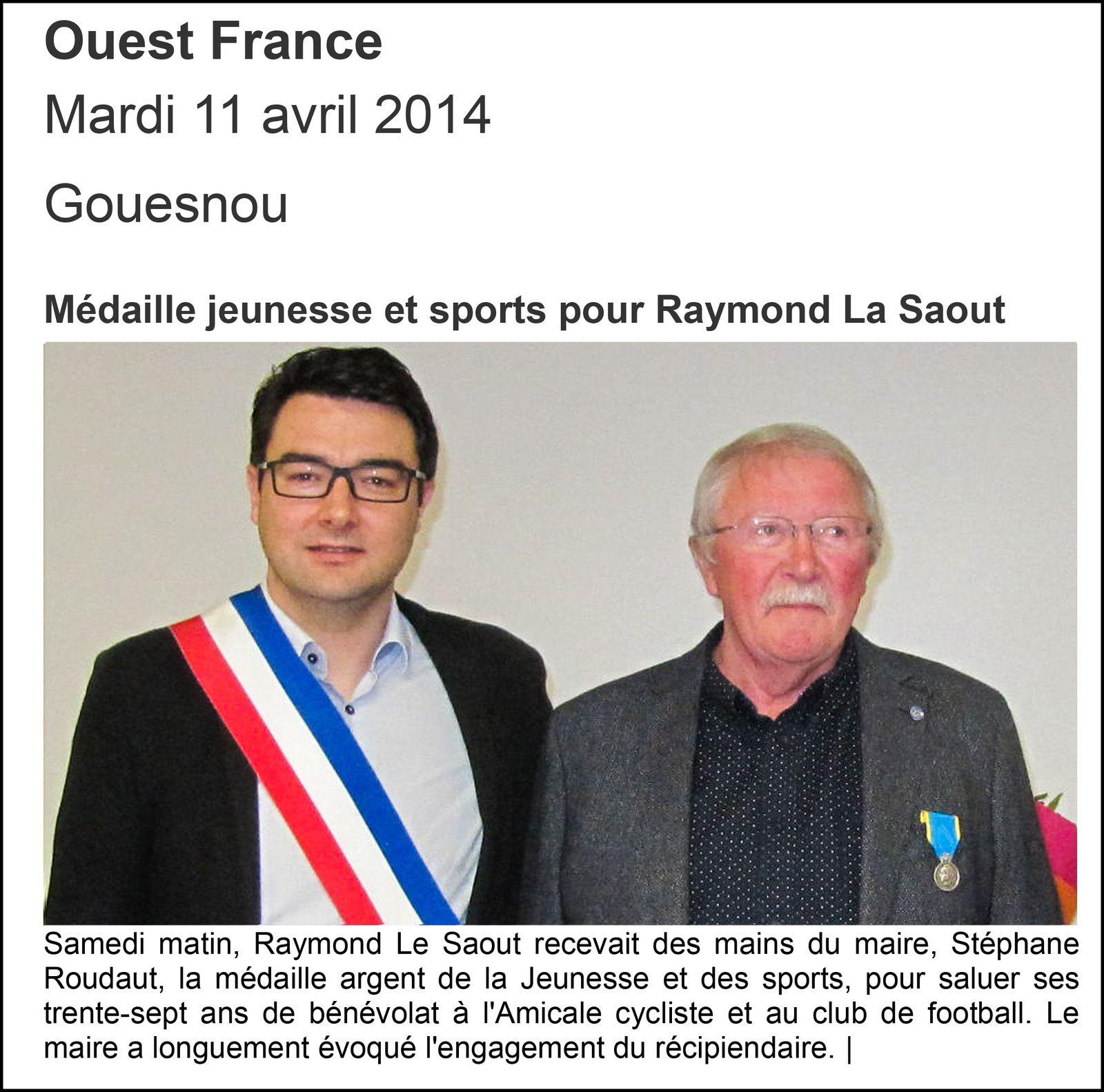 Raymond Le Saout - Président de l'Amicale cycliste de Gouesnou - médaillé d'argent JSEA