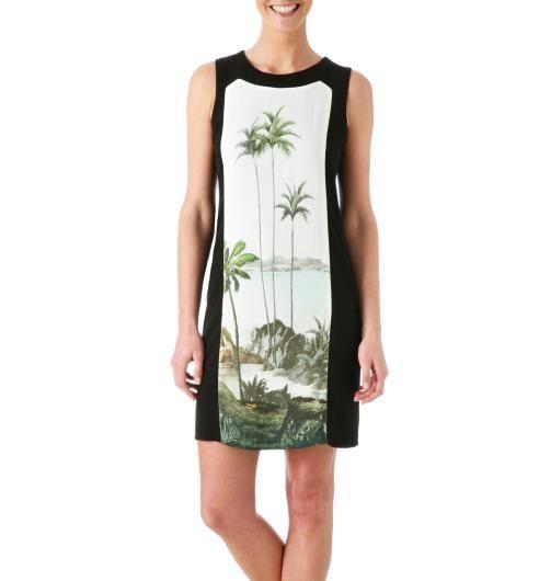 robe chasuble, en blanc pour Leïla Bekhit, chez Helline en noir et blanc, chez Promod motif palmiers
