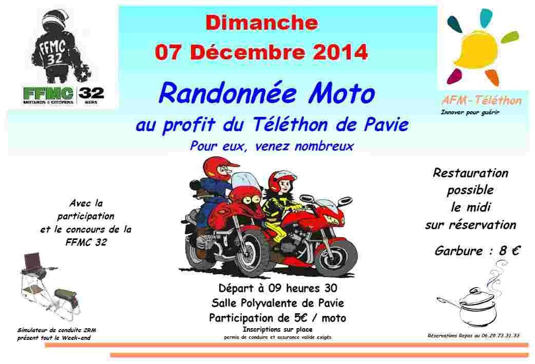 AFM-TELETHON 2014 Balade moto avec la FFMC32 le 7 décembre