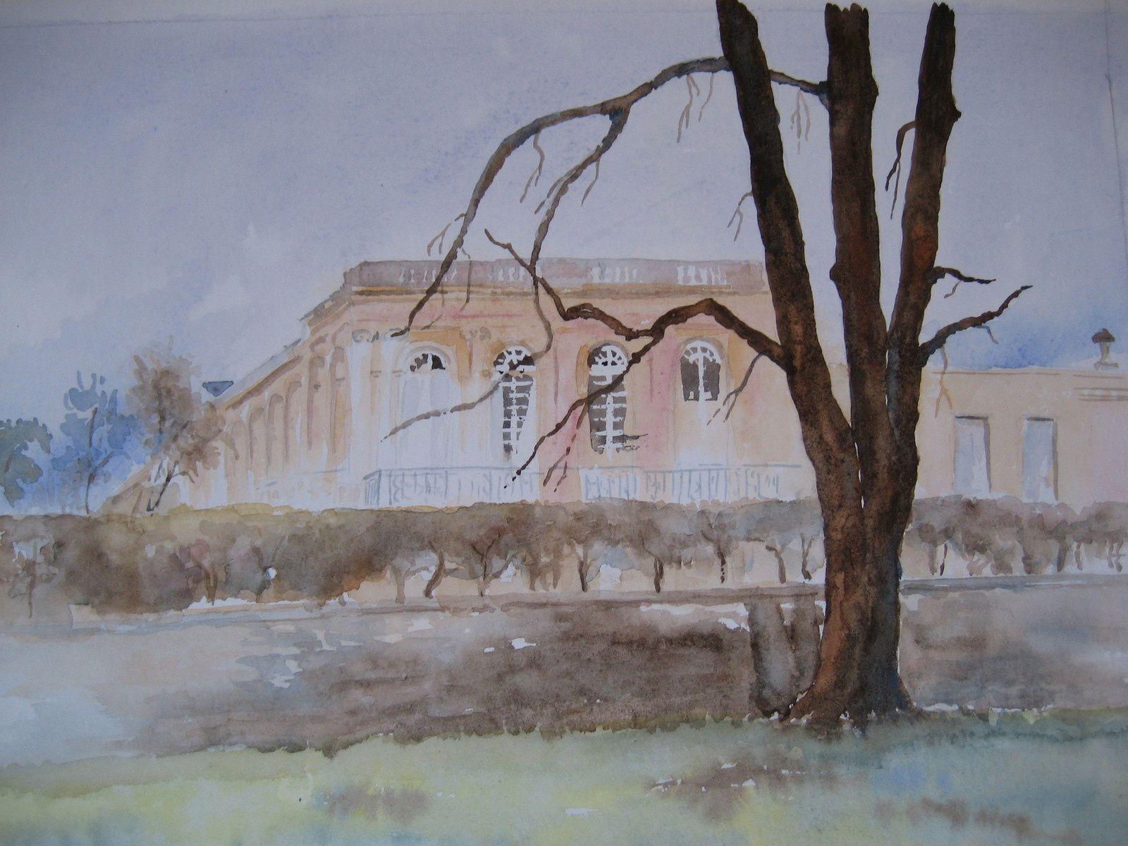 Le Hameau de la Reine et le Grand Trianon. Le temps était pluvieux, mais favorable à l'aquarelle...