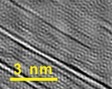 Graphène et ses renforts en nanotubes de carbone (microscope électronique)