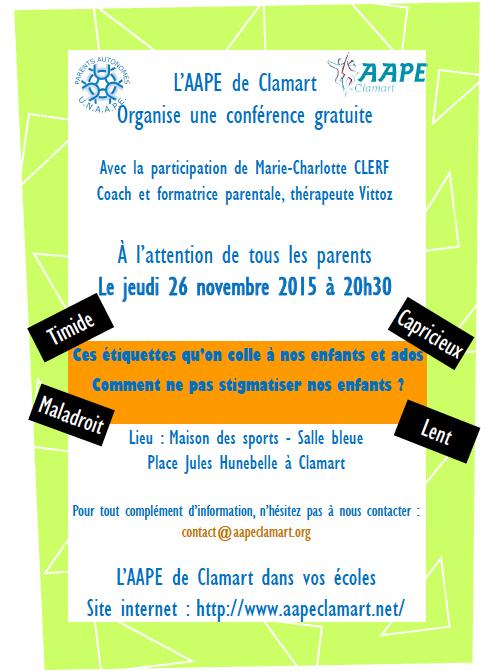 Conférence AAPE ouverte à tous le jeudi 26 novembre à 20h30