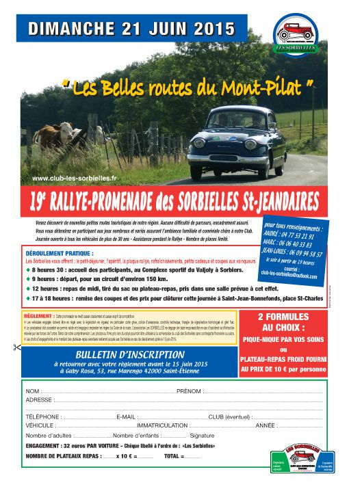 Inscription 19 ème Rallye promenade dimanche 21 juin 2015