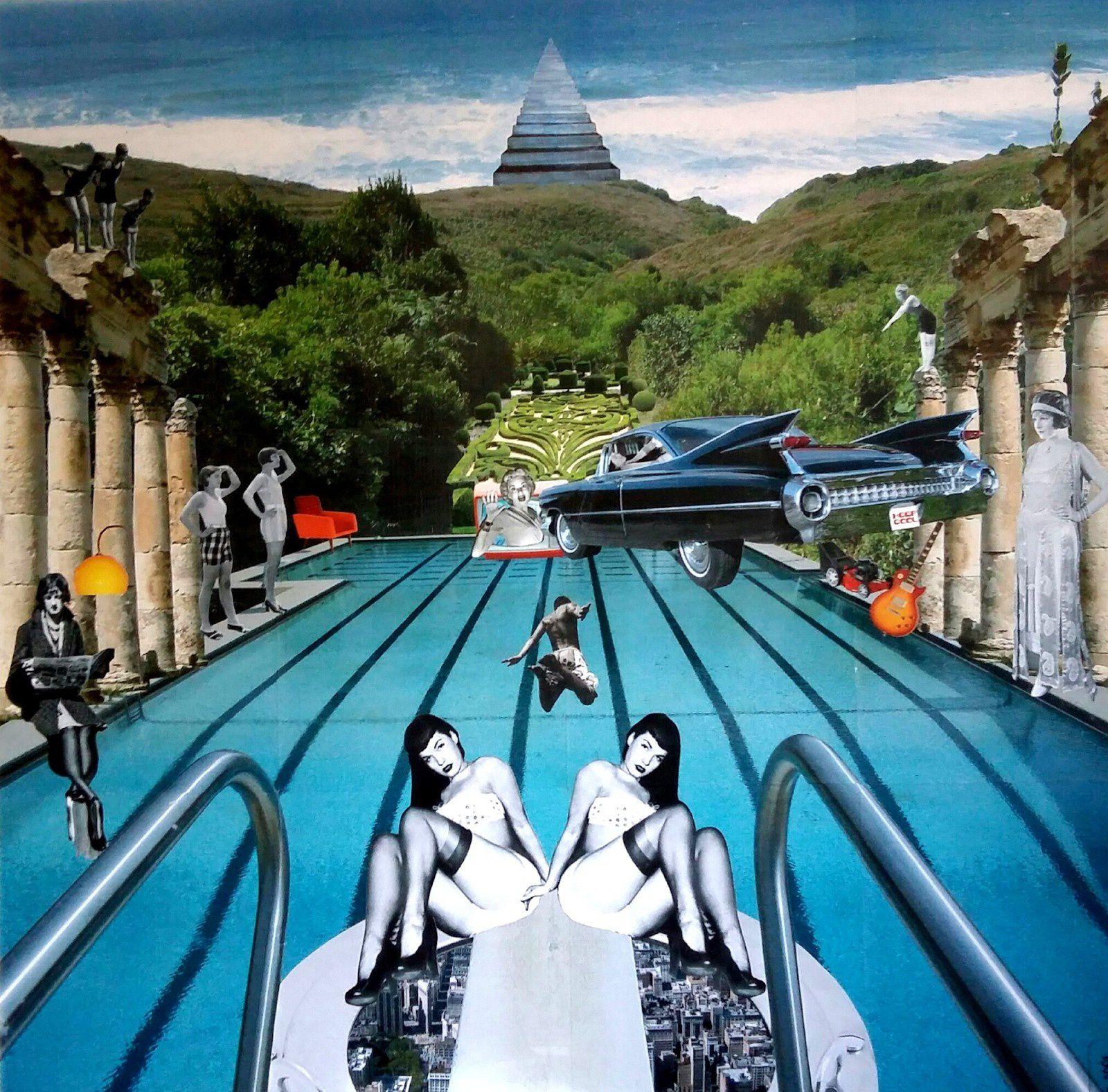 The Big Splash - Collage sur toile - 100 x 100 cm
