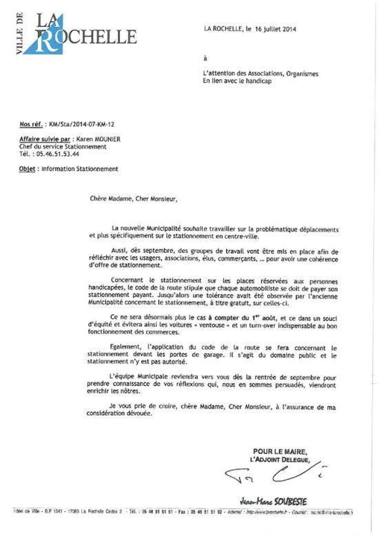 Verbalisation du stationnement des handicapés à La Rochelle... une autre politique doit être mise en oeuvre !