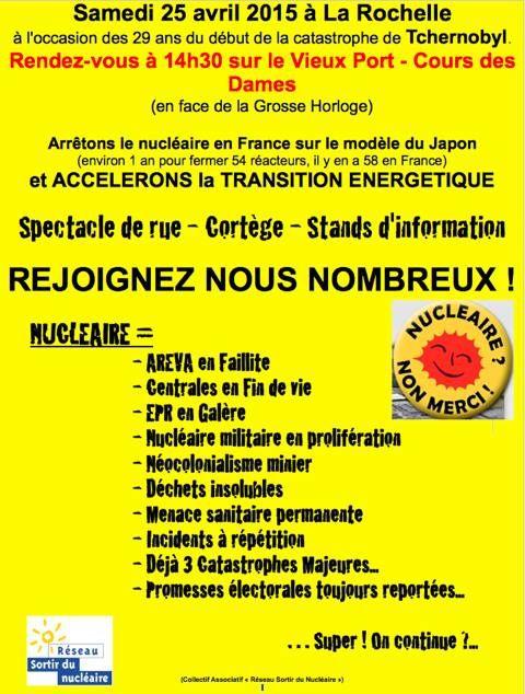 25/04/2015, LA ROCHELLE ensemble pour dire : Non au Nucléaire, Oui à la transition énergétique