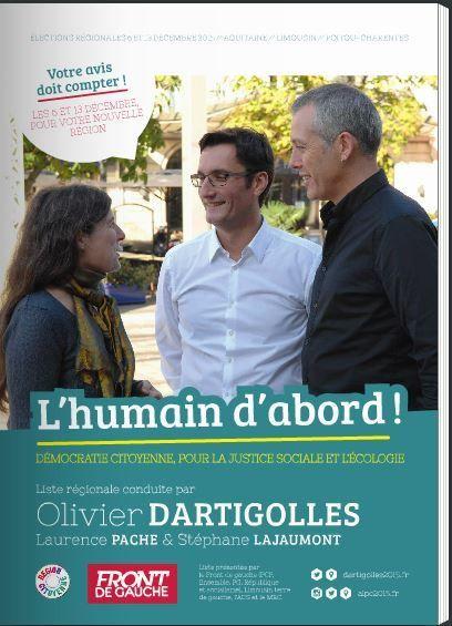 Olivier Dartigolles FdG aux élections régionales 2015, région (ALPC) Aquitaine - Limousin - Poitou/Charentes : le programme, le clip !