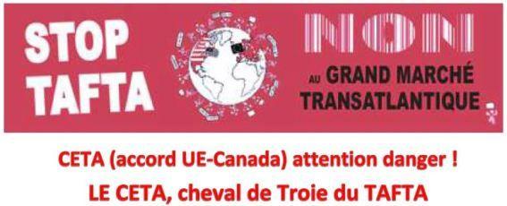 Samedi 15 octobre 2016 : Journée européenne d'action contre le traité CETA (UE-Canada)