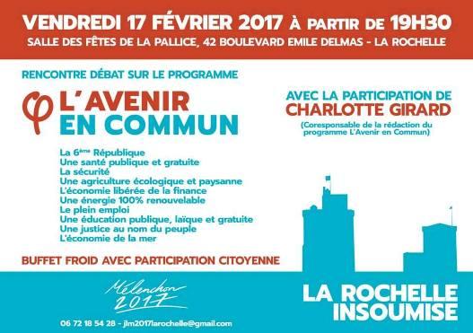 """Le 17 février à La Rochelle soirée rencontre, débat spéciale : """"L'Avenir en commun"""""""