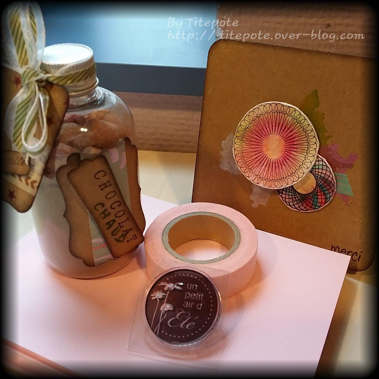 Le lot N°3 reçu par Sand - 1 ptite carte, 1 masking tape, 1 tampon et 1 kit personnalisé pour faire des chocolats chauds :)