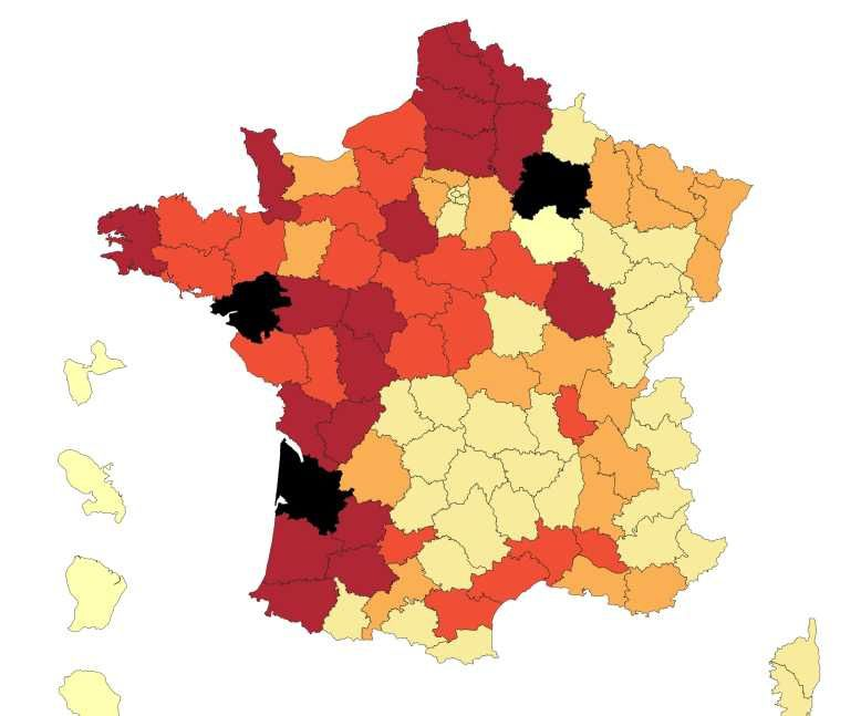 Carte des pesticides en France.