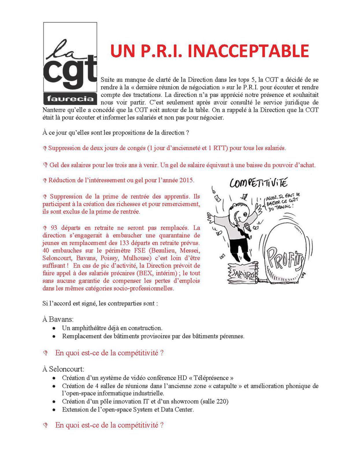 Tract CGT contre Plan de Relance Industrielle (P.R.I) de Faurecia Systèmes d'Echappement (FSE)