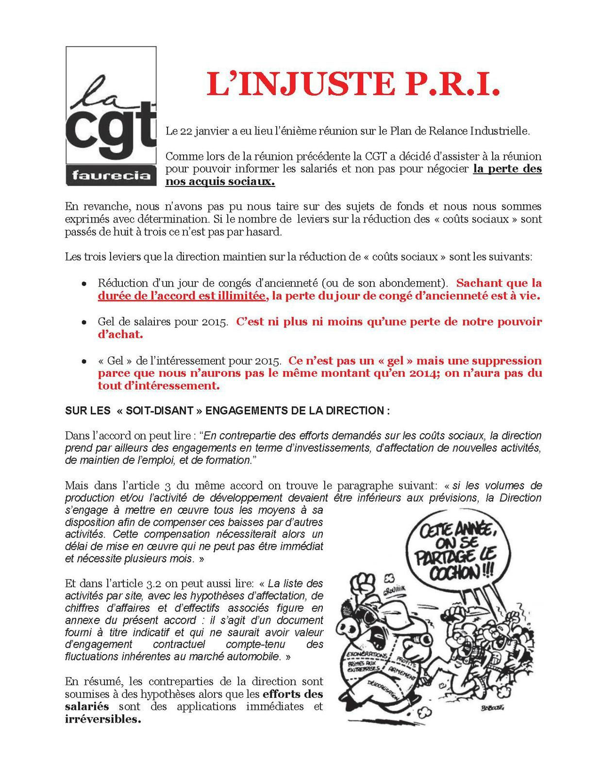 L'INJUSTE P.R.I. (tract contre l'accord compétitivité)