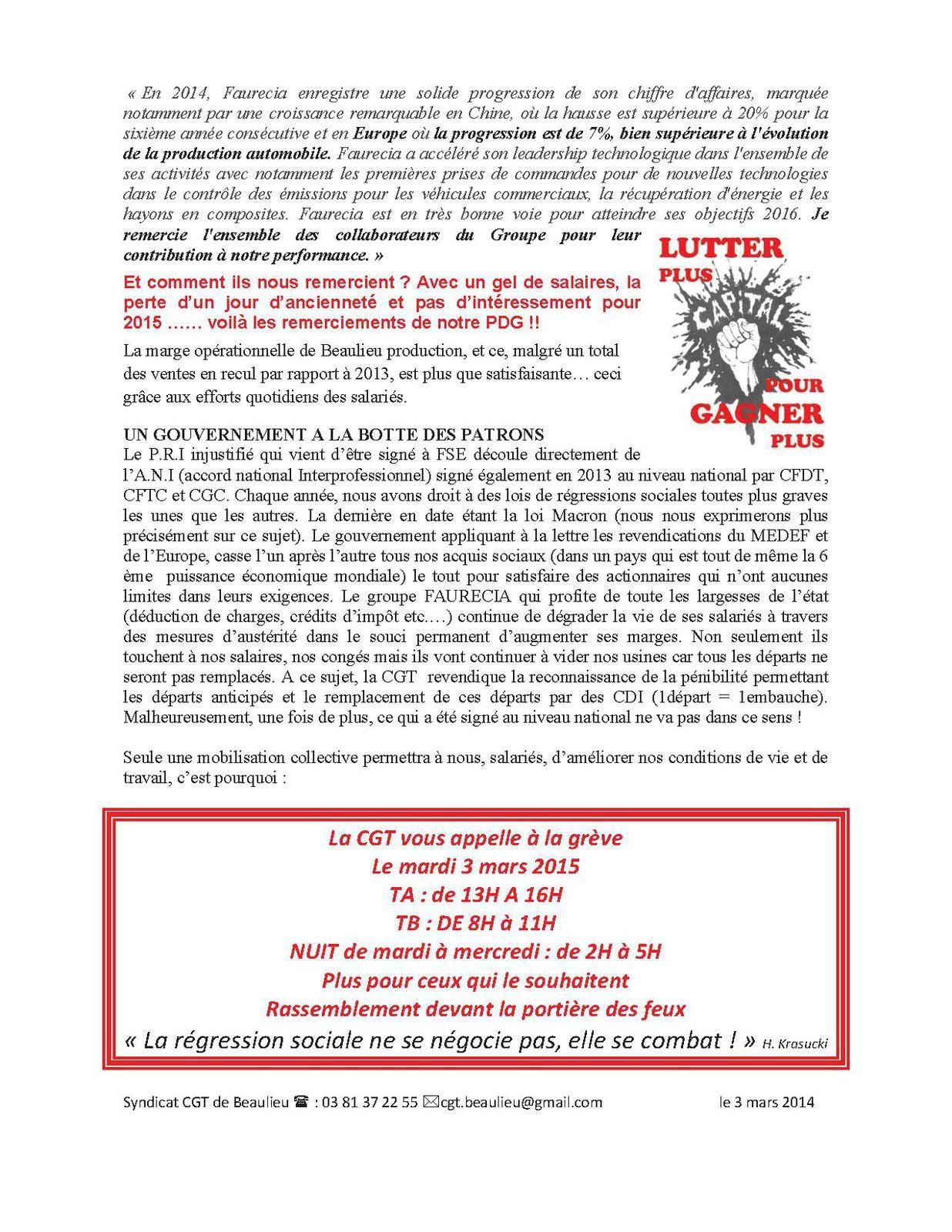 Tract CGT sur NAO 2015 à Faurecia Systèmes d'Echappement