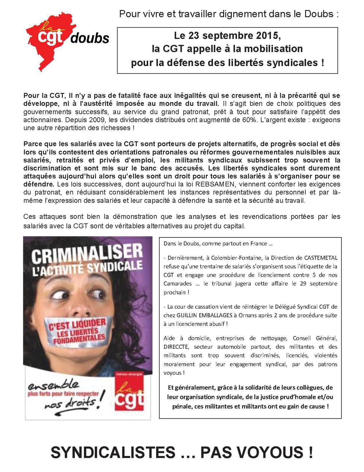 Rassemblement à Montbéliard pour la défense des libertés syndicales