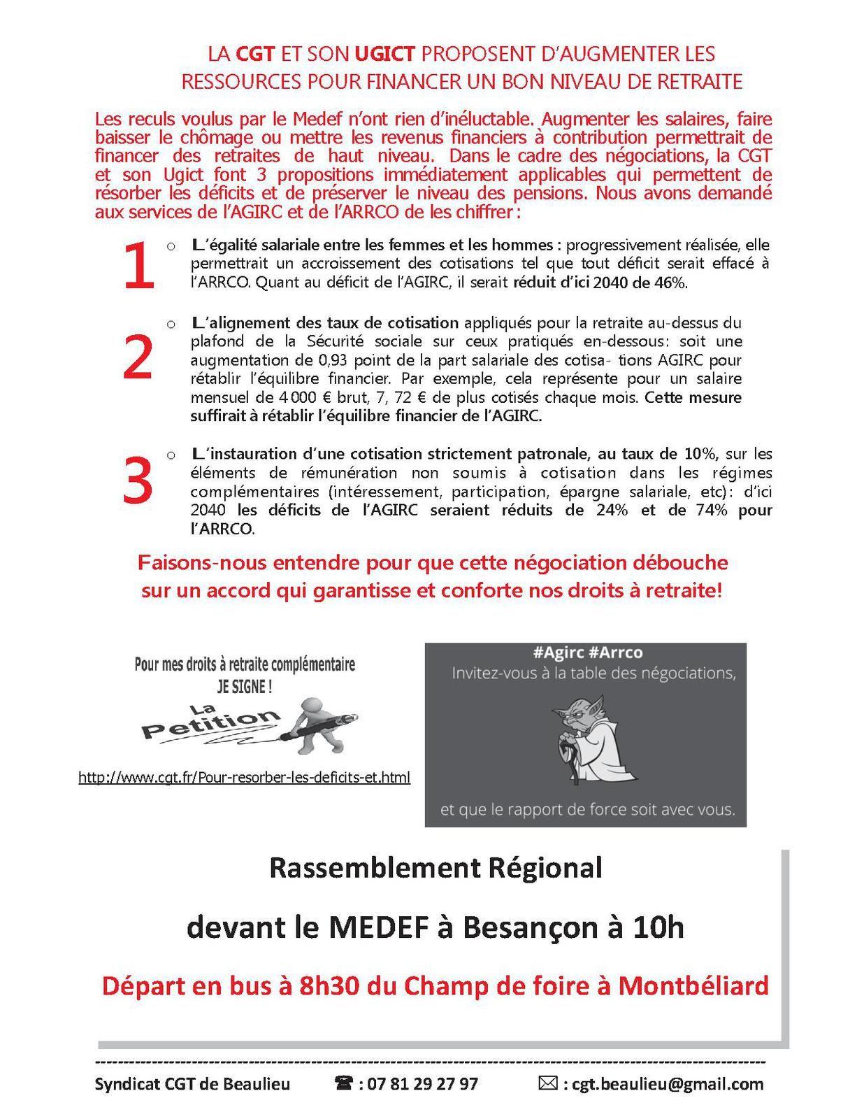 Le 16 octobre pour NOS retraites complémentaires 10h00 devant le MEDEF à Besançon