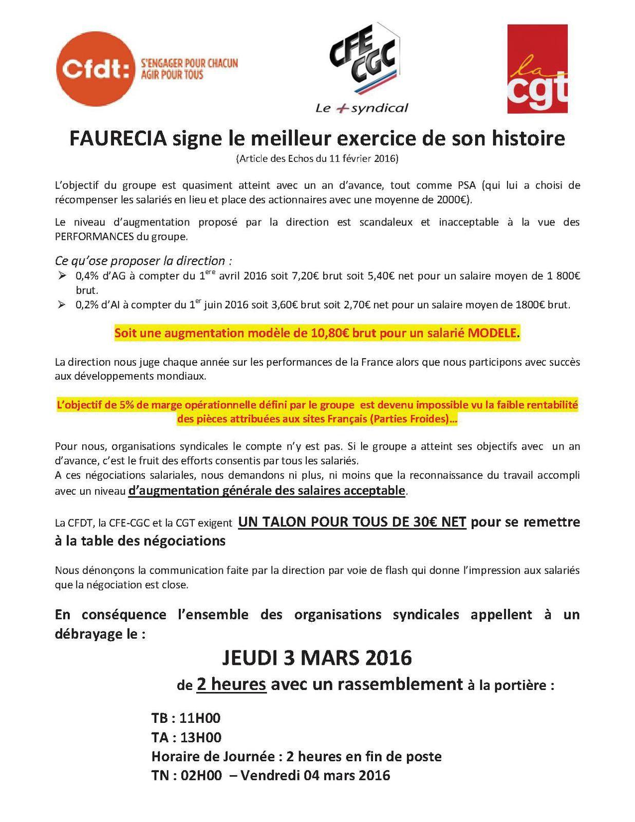 Tract intersyndical négociations salariales Faurecia Systèmes d'Echappement
