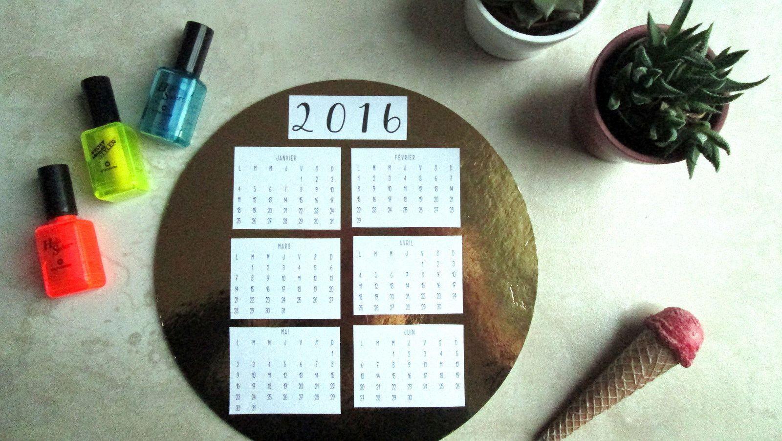 PRINTABLE : Calendrier 2016 &amp&#x3B; DIY