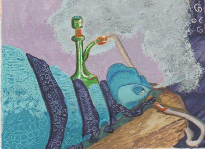 une chenille bleue