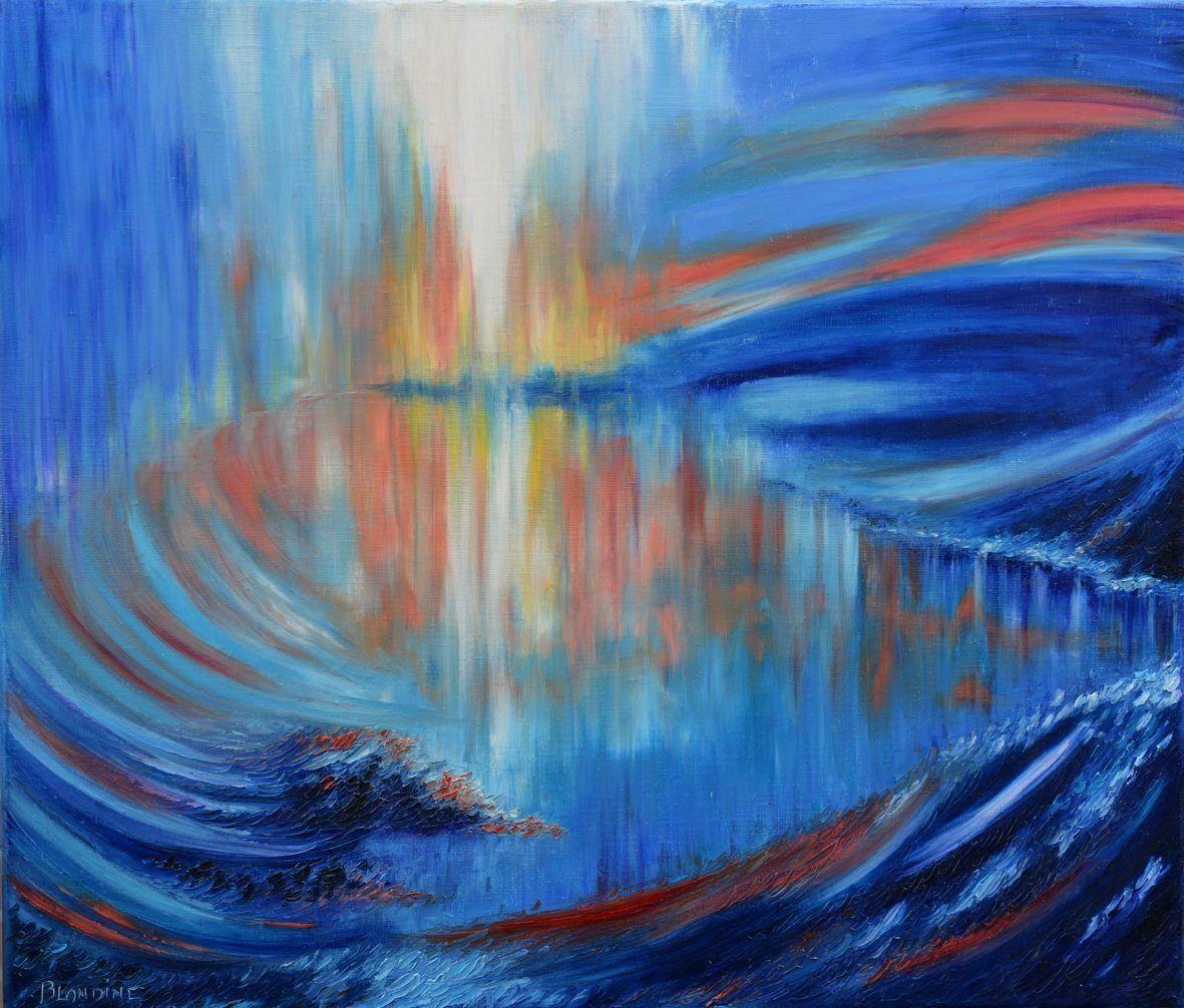 New painting&#x3B; Paysage bleu,