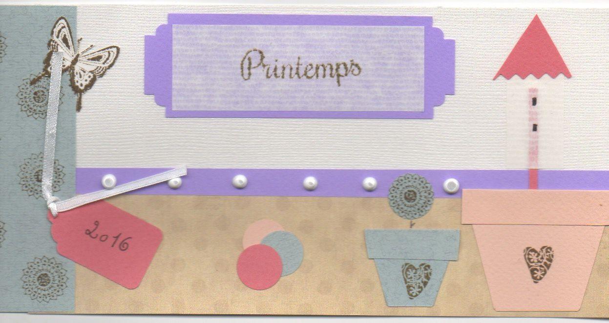 """Printemps"" papier Toga et Clairefontaine, tampon Arthémio, peinture Diam's, perforatrice tag et rond"