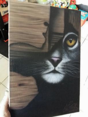 Chat sur toile peinture  aerographe main levée