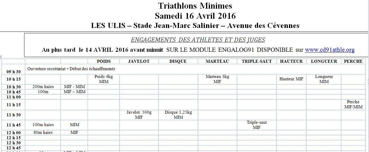 Le samedi 16 avril 2016: 1ère compétition sur piste pour les Minimes de l'Essonne au stade J.M. Salinier des Ulis !