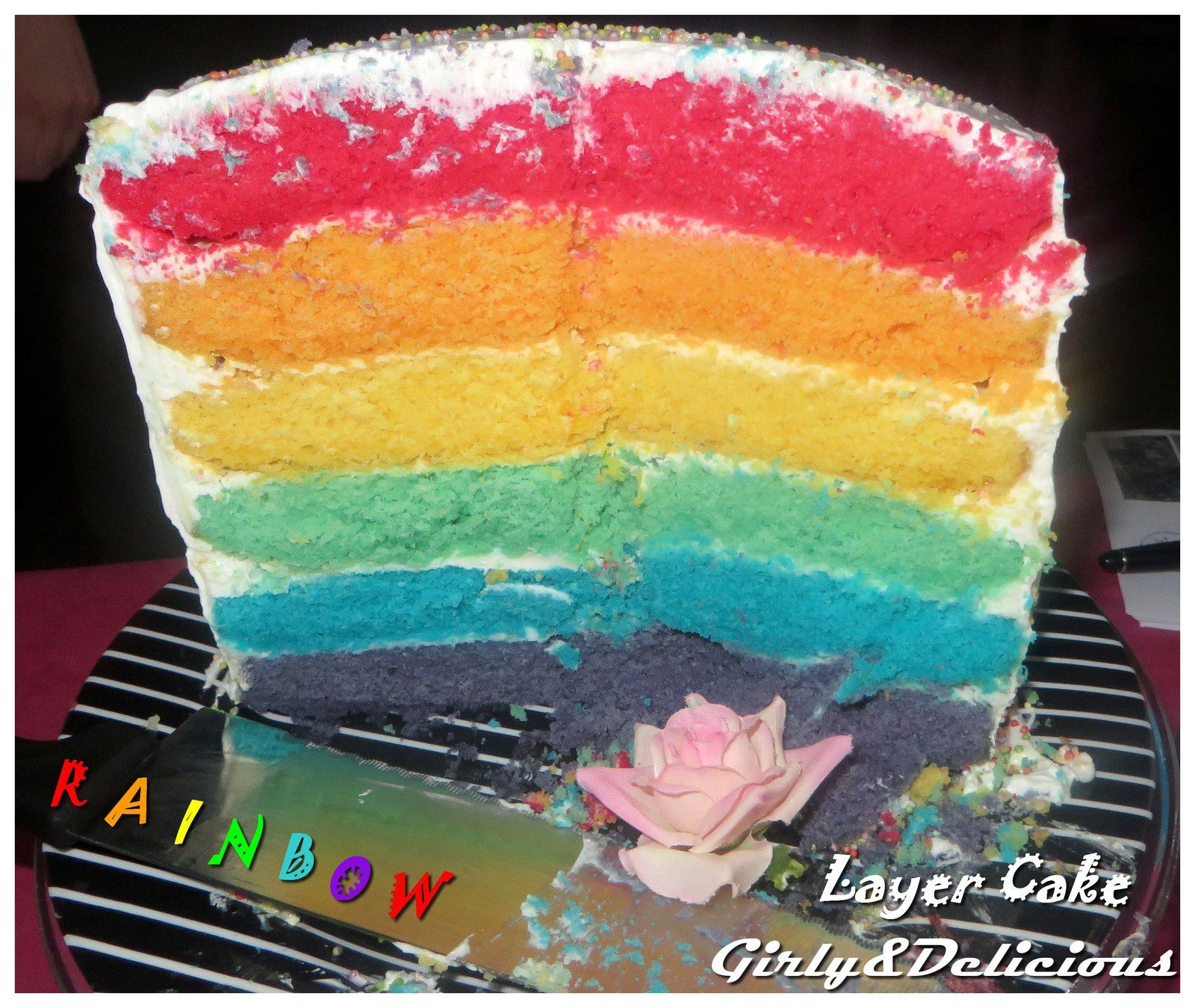 Rainbow Layer Cake - Girly and Delicious