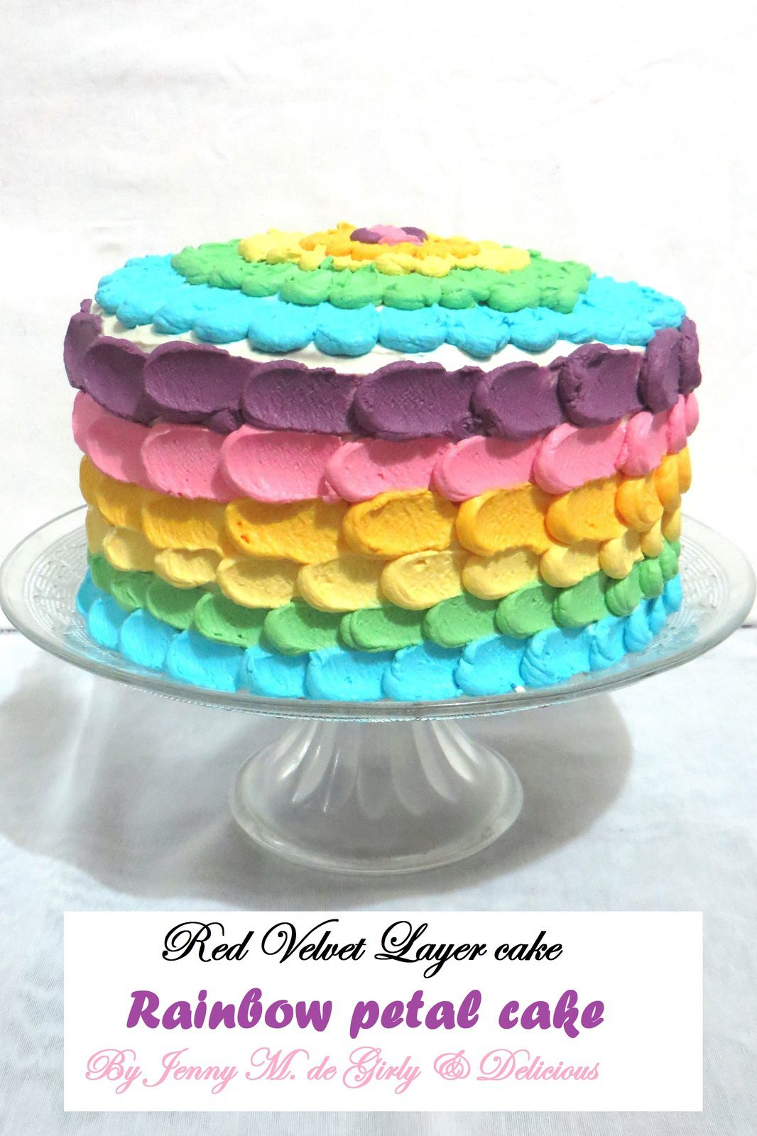 Red Velvet Layer cake, Rainbow petal cake