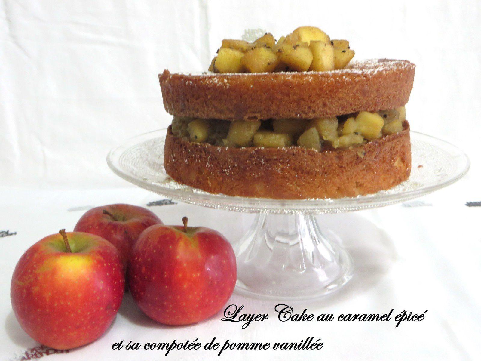 Layer cake au caramel, épice et sa compotée de Pommes vanillée