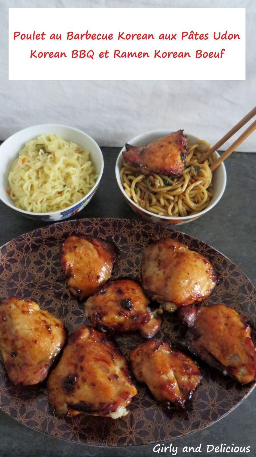 Poulet au Barbecue Korean et ses Pâtes Udon  Korean BBQ et Ramen Korean Boeuf
