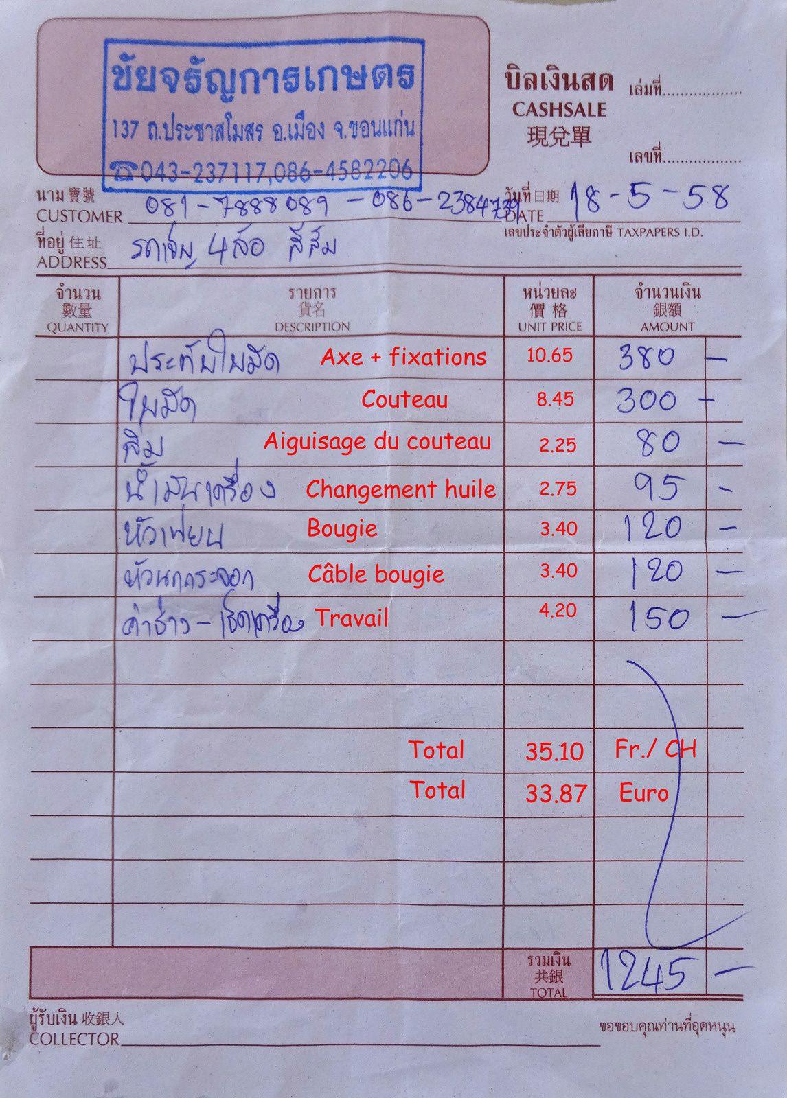 Prix réparations tondeuse en Thaïlande.....