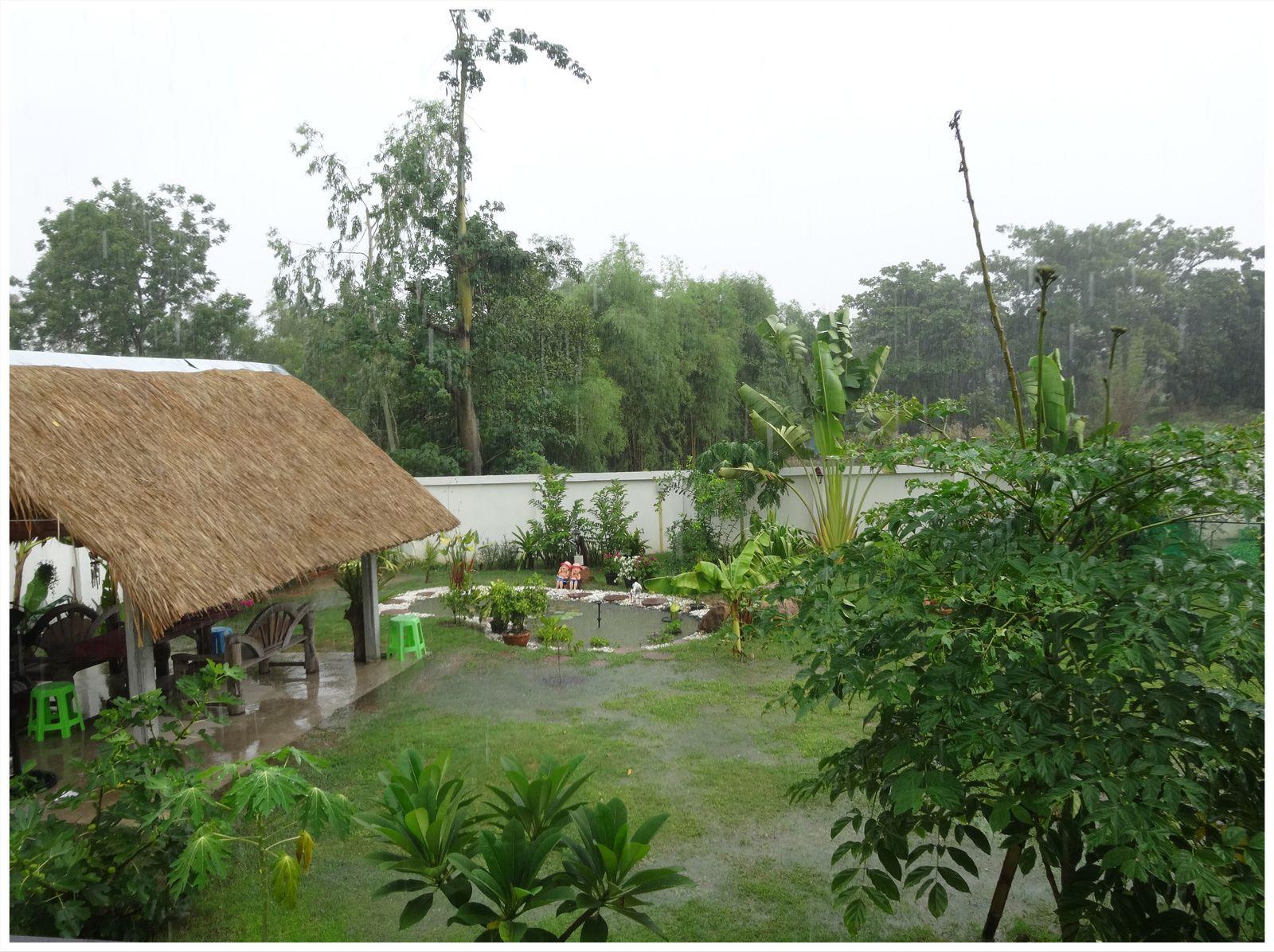 Le terrain derrière la maison totalement inondé, on ne voit pas le trou et la terre qui s'est échappée il me faudra 15 brouettes de terre pour boucher ce trou béant situé à l'angle de notre terrain....