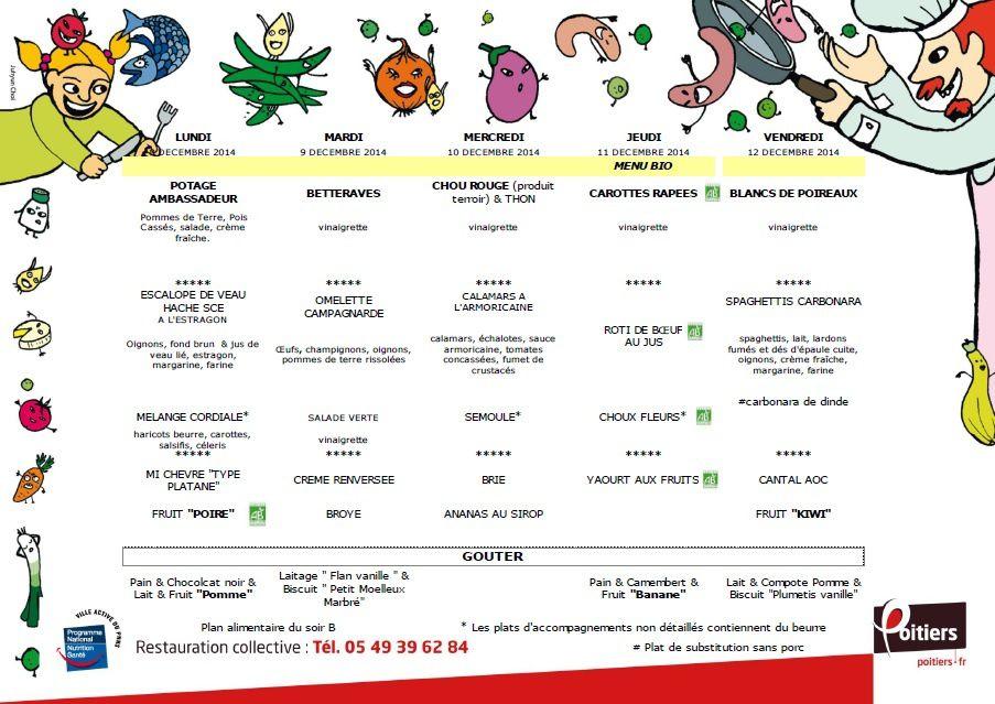 menu cantine scolaire pour la semaine du 08 au 12 d cembre 2014 ape la grange saint pierre. Black Bedroom Furniture Sets. Home Design Ideas