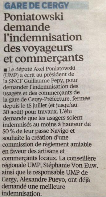 Gare de Cergy : Poniatowski demande l'indemnisation des voyageurs et commerçants (Le Parisien)