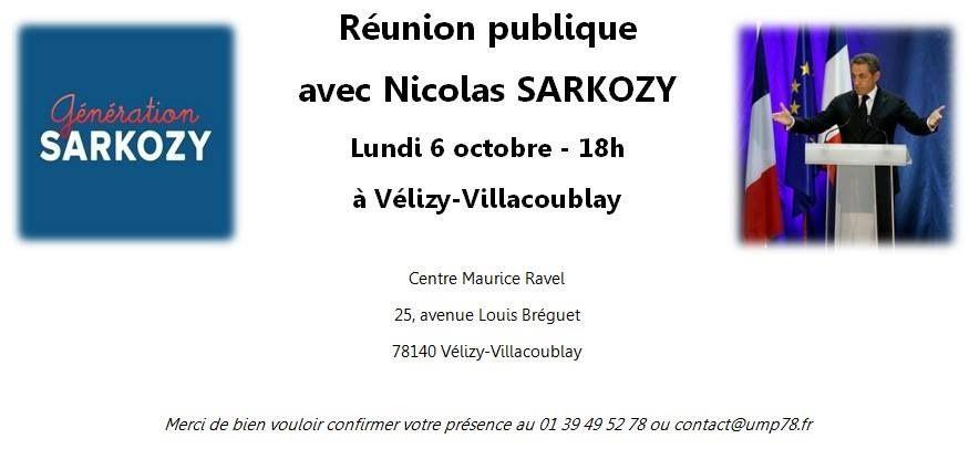 Meeting de Nicolas Sarkozy à Vélizy le lundi 6 octobre