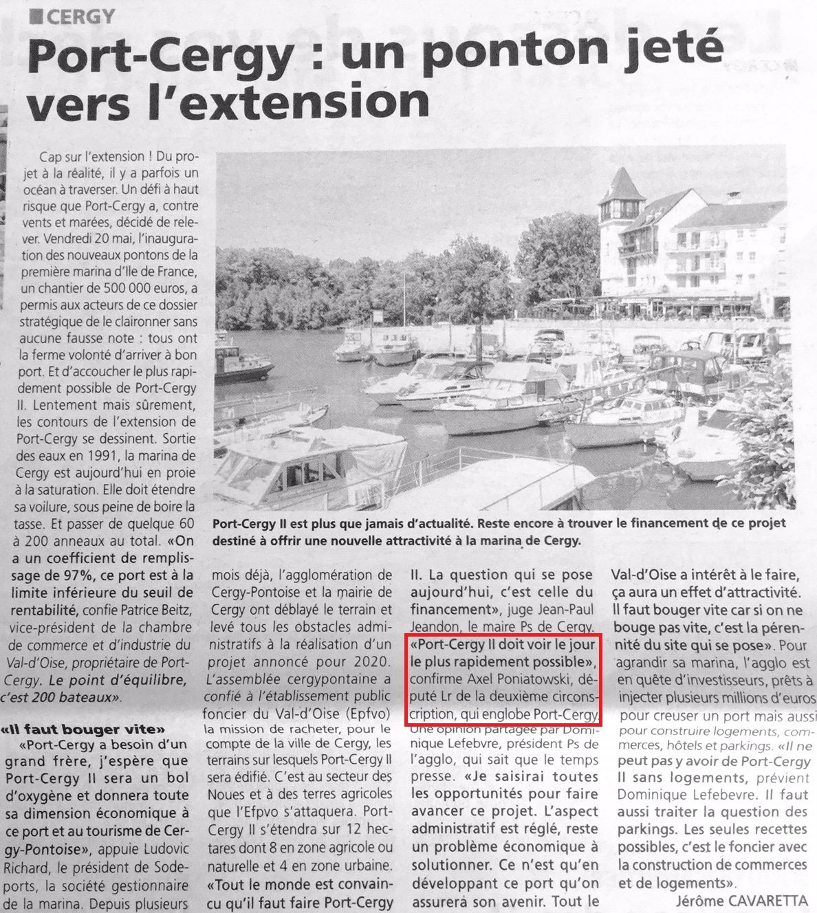 Vers l'extension de Port-Cergy (La Gazette)