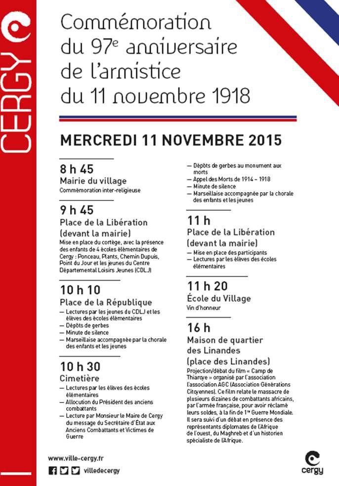 Cérémonie de l'armistice du 11 novembre à Cergy (2015)