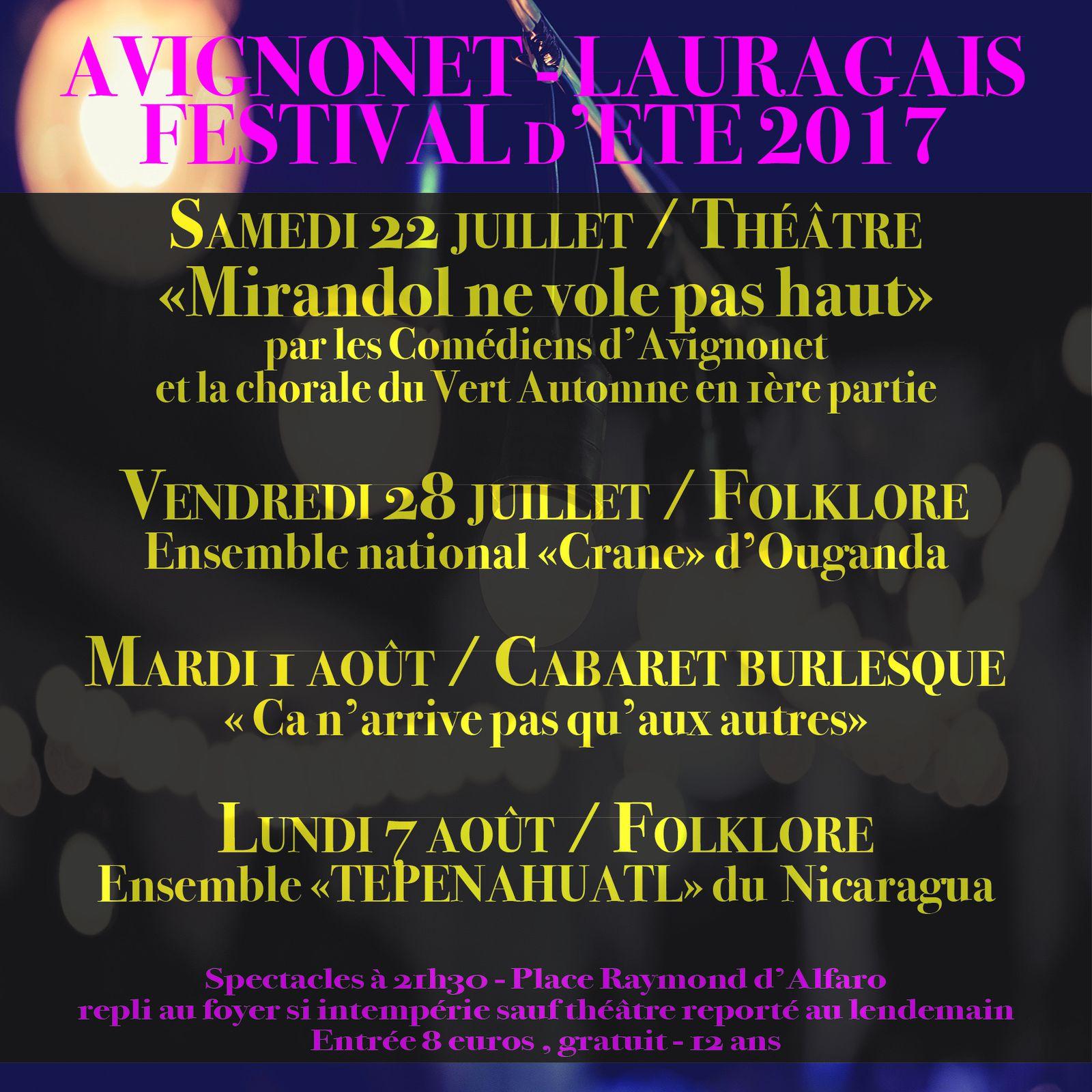 Tout beau, tout neuf, tout chaud... le programme de l'été 2017 à Avignonet !