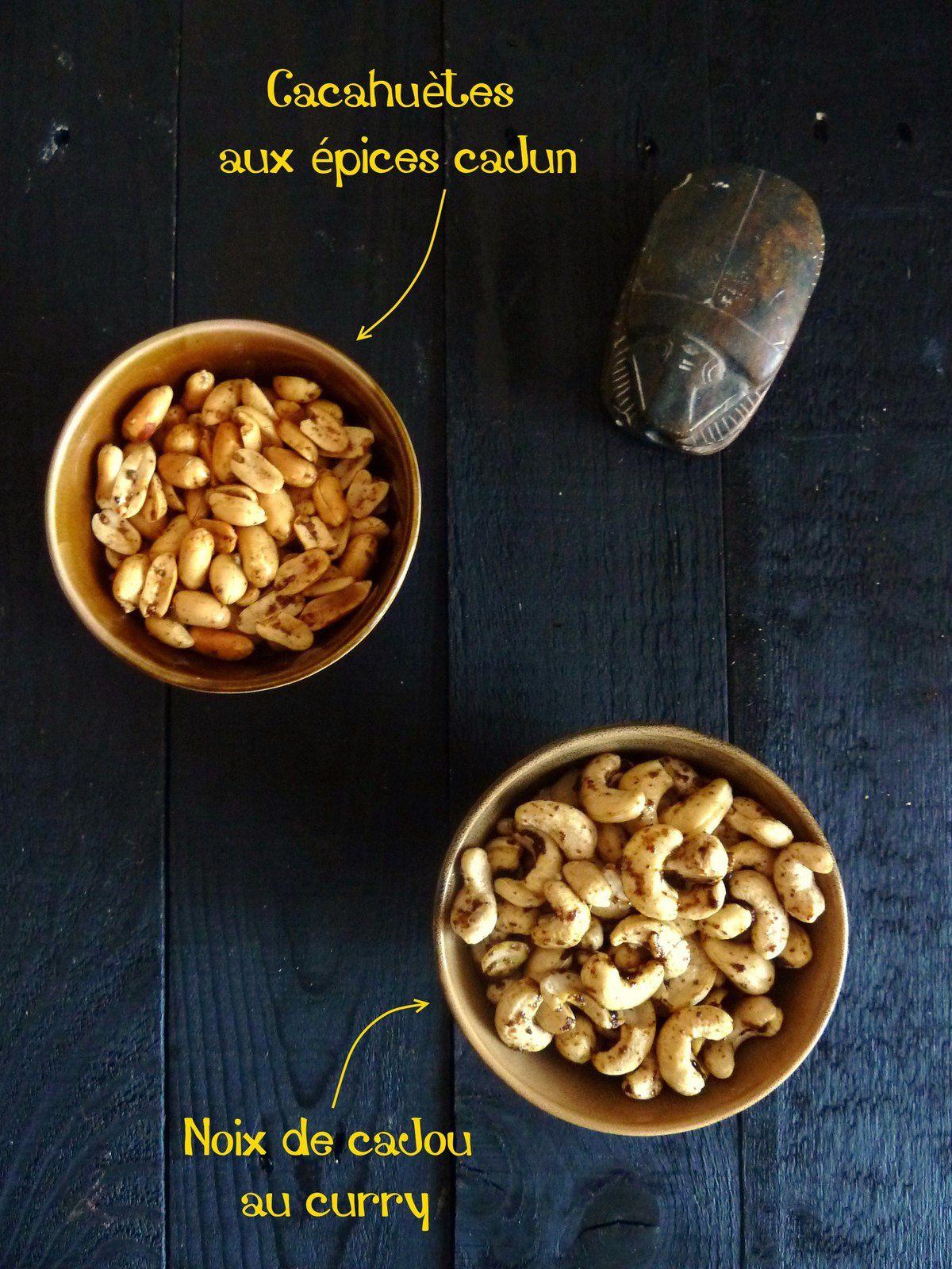 Noix de cajou au curry et cacahuètes au épices cajun