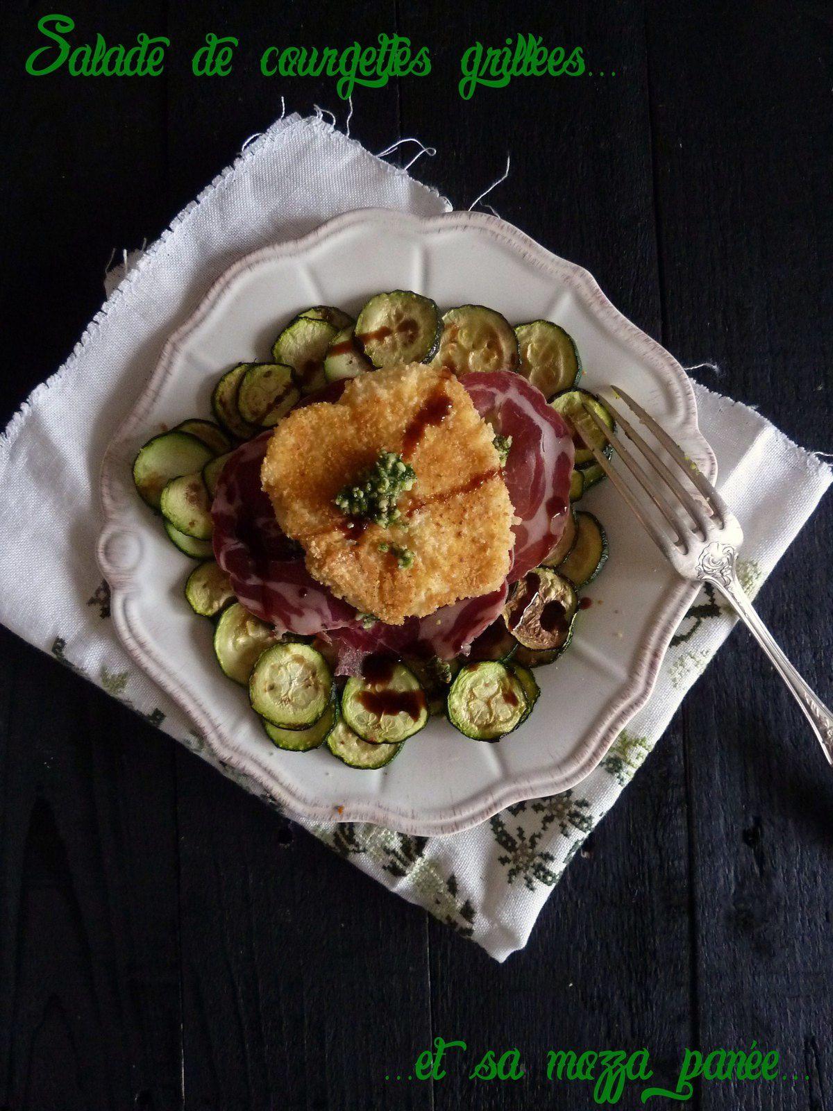 Salade de courgettes grillées, copa, pesto et mozza