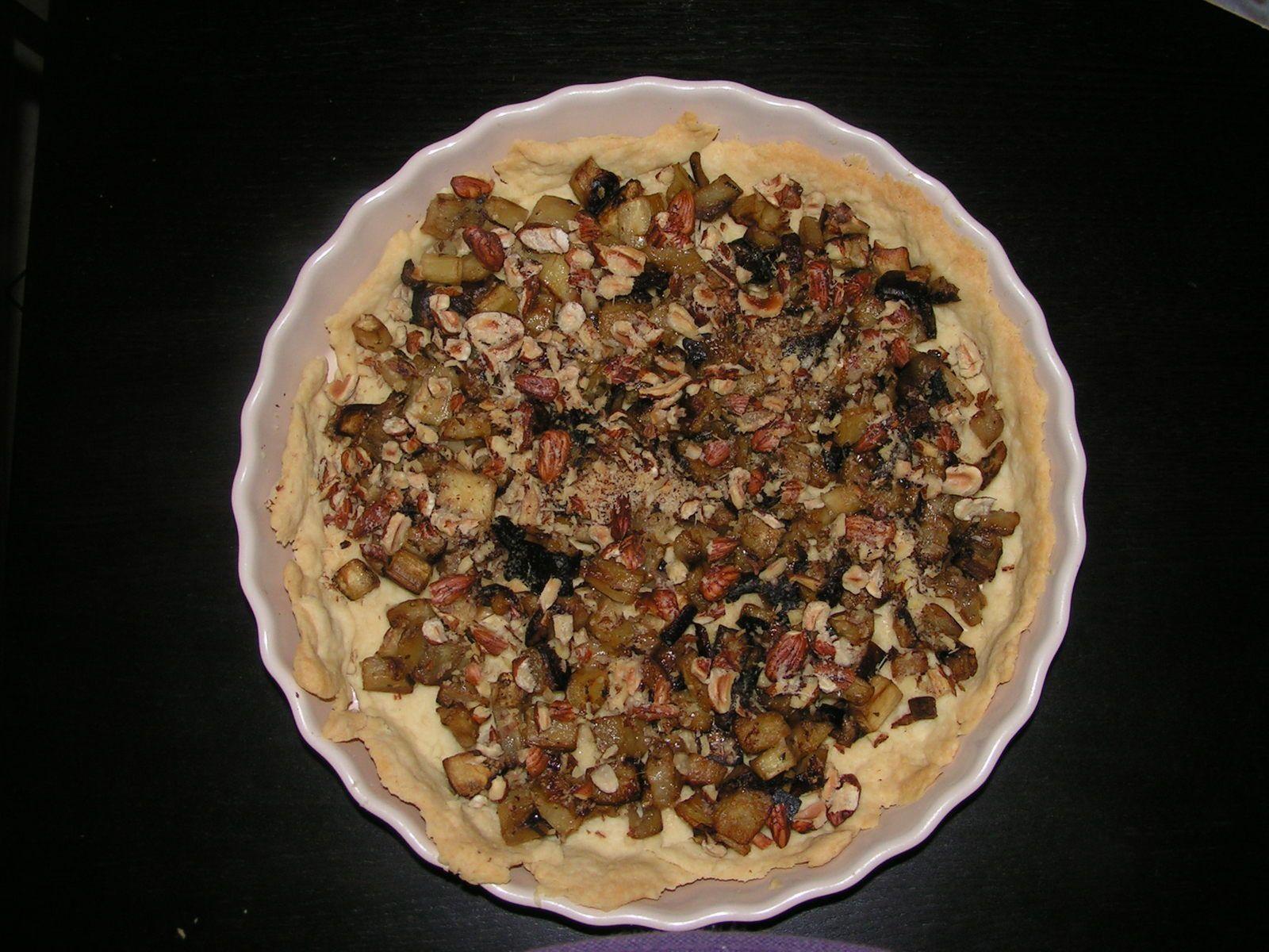 tarte aux aubergines et noisettes