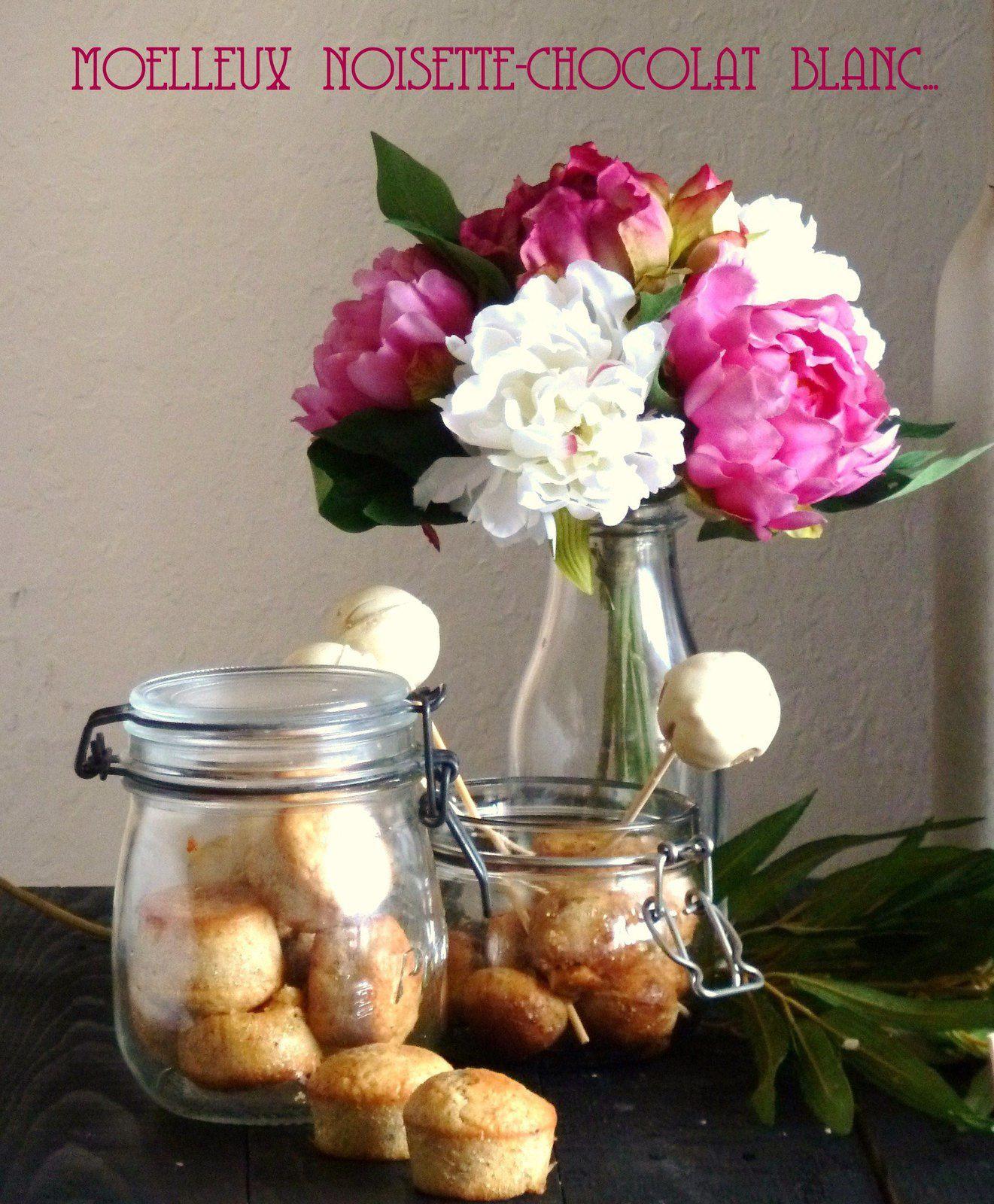 Moelleux noisette-chocolat blanc et leur version pop-cake