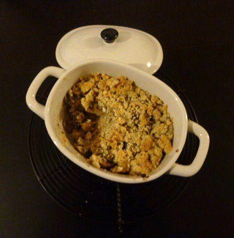 Crumble de fenouil et champignons aux noisettes