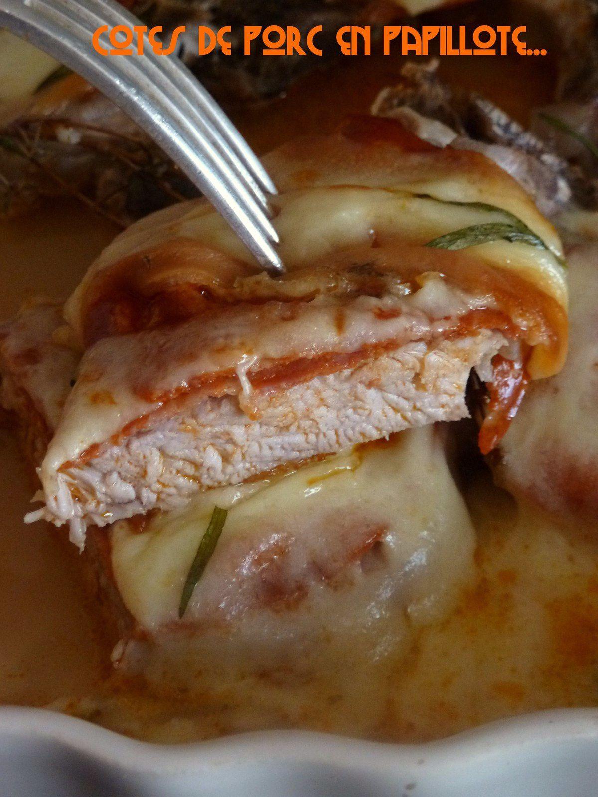 Cotes de porc au chorizo et fromage fumé en papillotte