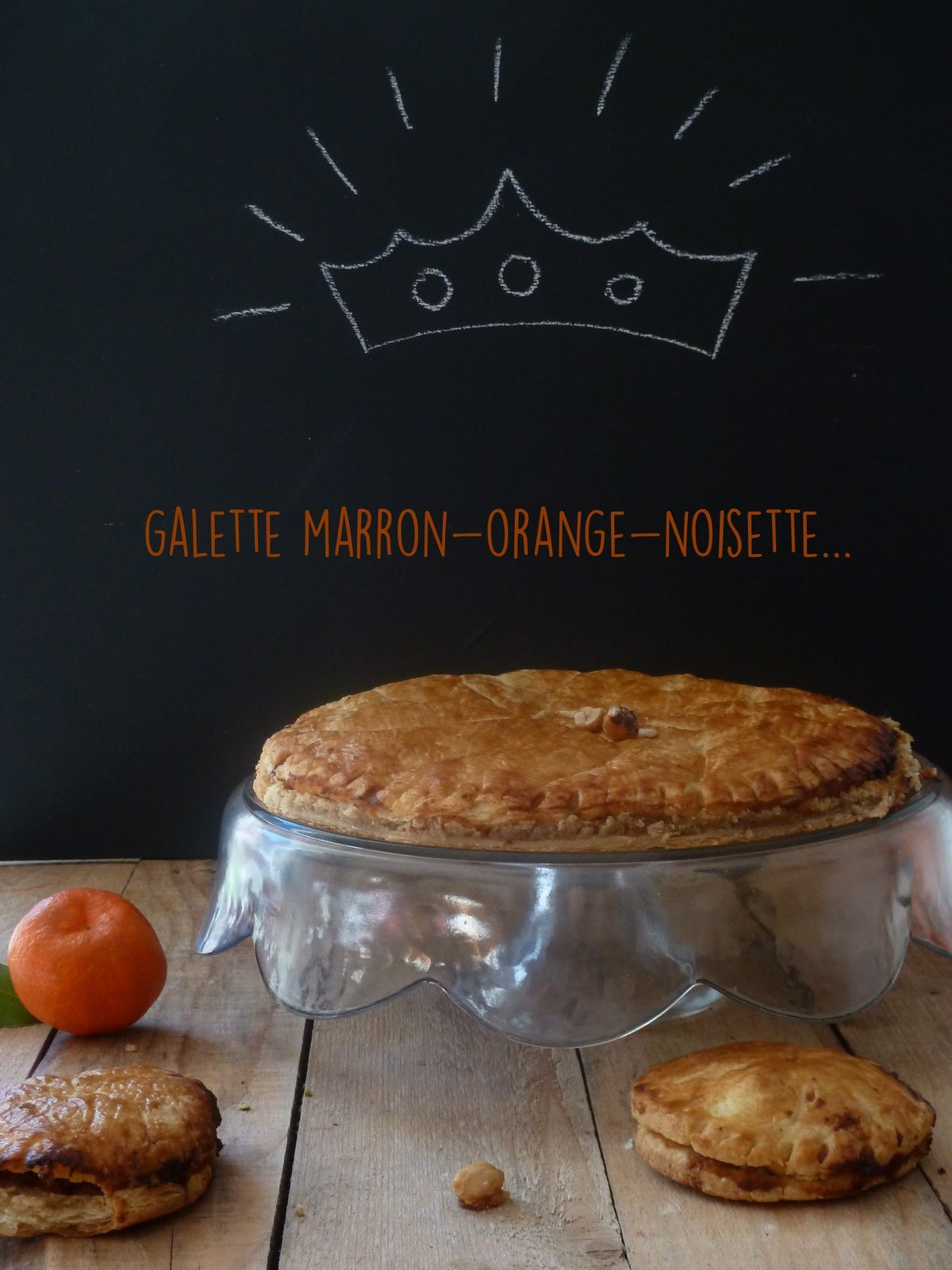 Galette marron-orange-noisette