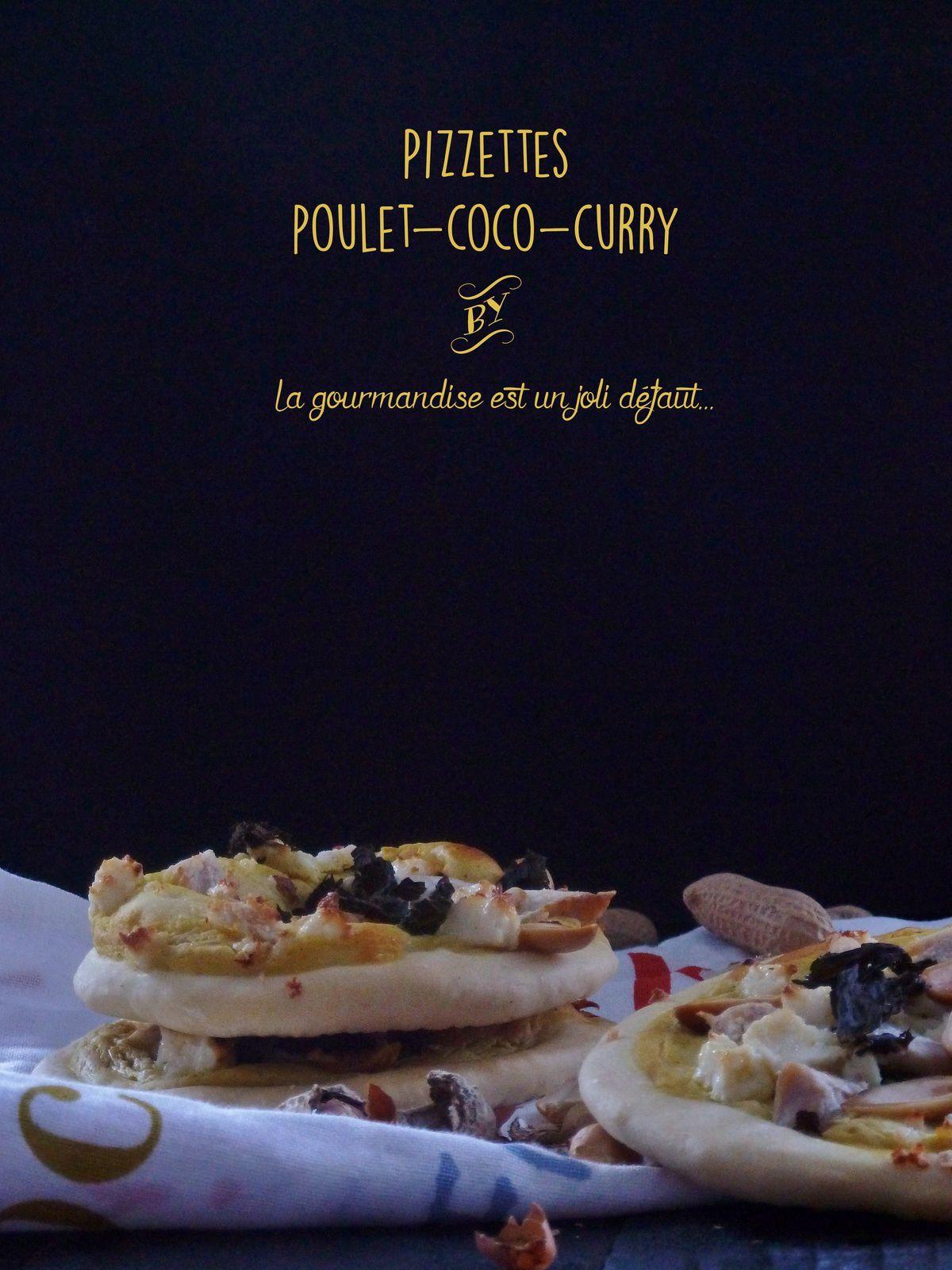 Pizzettes poulet-coco-curry
