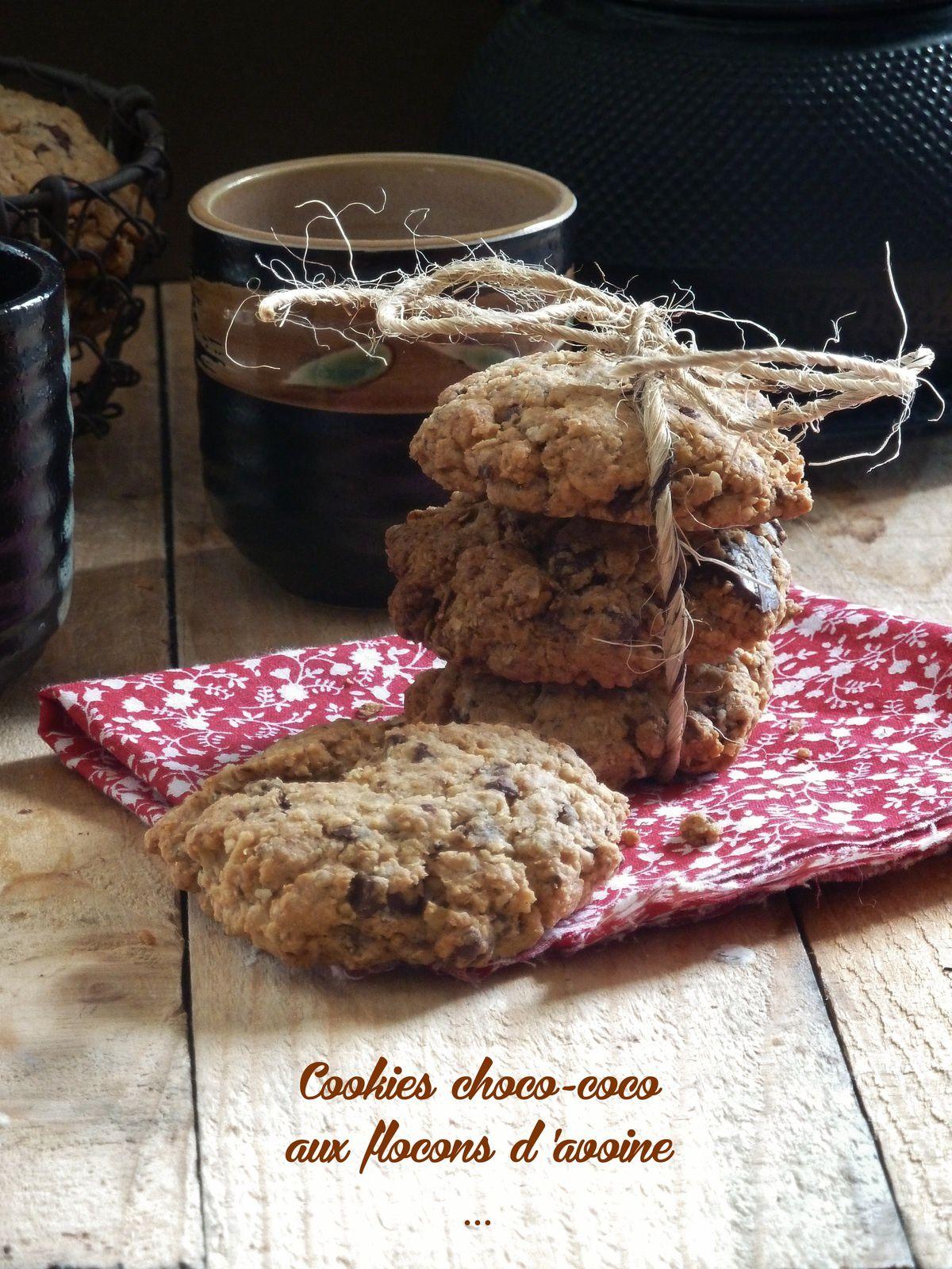 cookies chocolat et noix de coco {aux flocons d'avoine}
